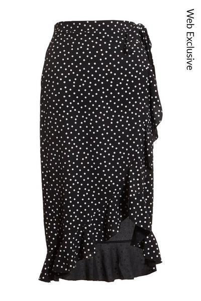 Black Polka Dot Wrap Skirt